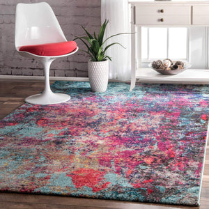 9936 Blue Multi-Color Abstract Contemporary Area Rugs