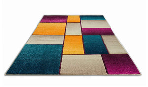 6113 Purple Geometric Hand Carved Contemporary Area Rugs