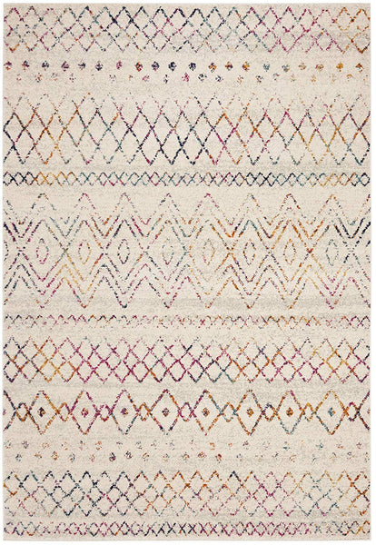 0119 Ivory Multi-Color Tribal Contemporary Area Rugs