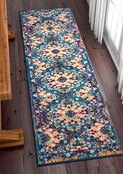 2923 Blue Multi-Color Medallion Traditional Area Rugs