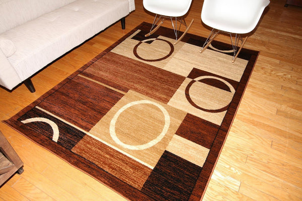 Beige Brown Geometric Contemporary Area Rugs