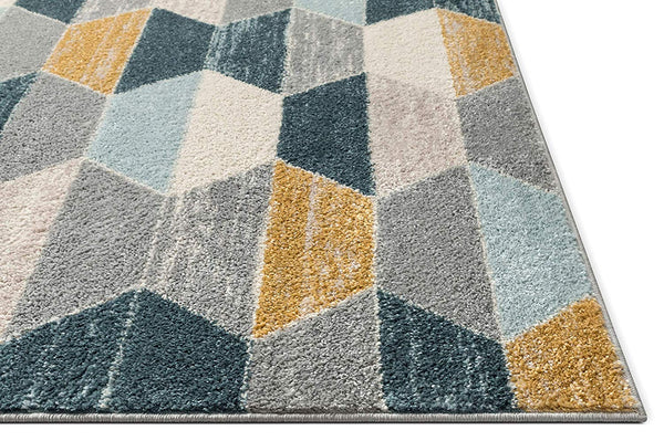 7038 Blue Gold Geometric Contemporary Area Rugs