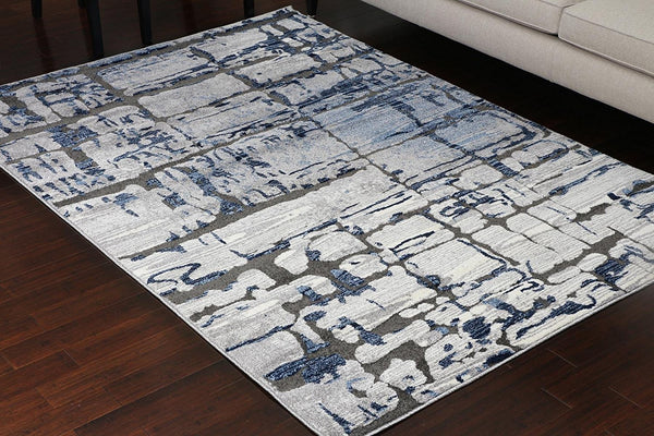 5608 Blue Carved Contemporary Area Rugs