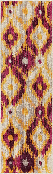 2960 Purple Gold Tribal Contemporary Area Rugs