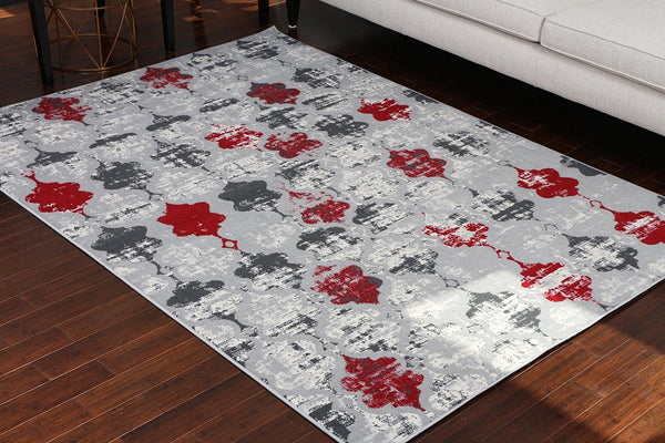 5057 Silver Distressed Moroccan Trellis Area Rugs