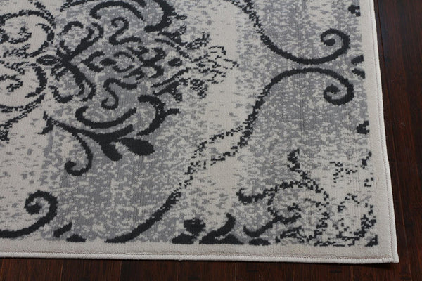 3058 Gray Damask Area Rugs