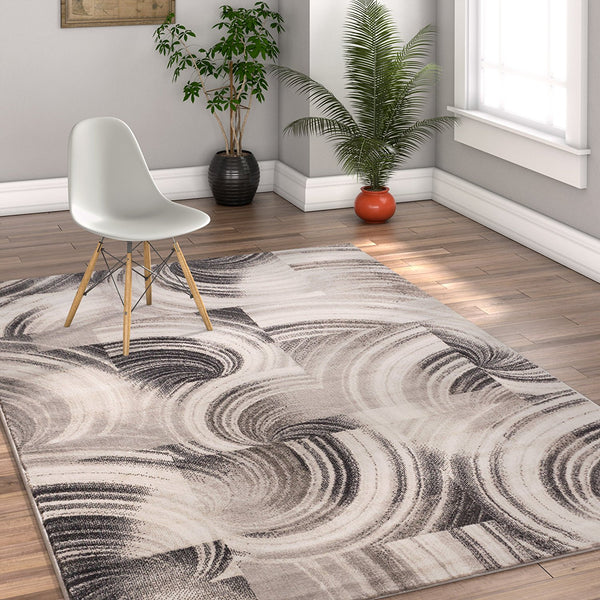 2940 Gray Abstract Geometric Contemporary Area Rugs
