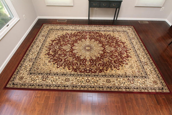 Red Isfahan Oriental Persian Traditional Rugs