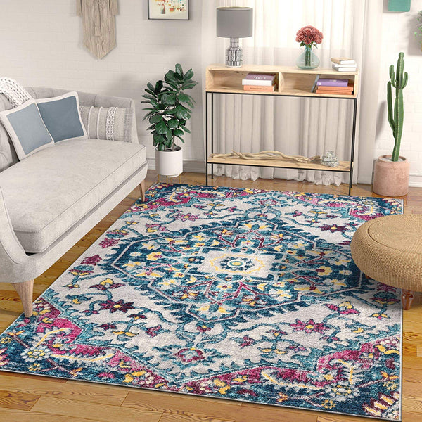 2947 Blue Medallion Bohemian Vintage Area Rugs