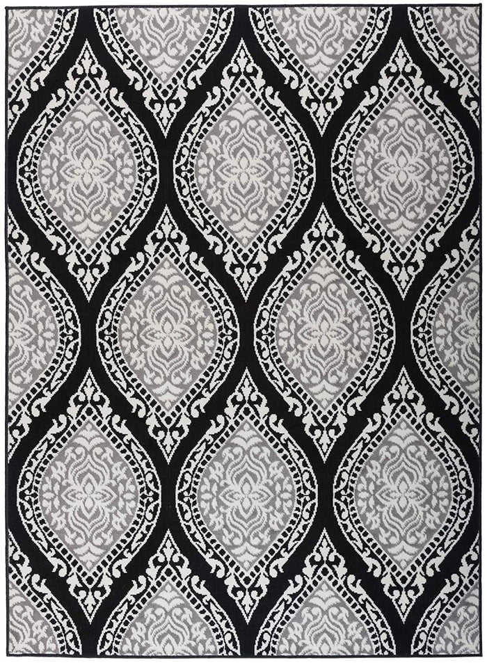 5096 Black Gray Damask Area Rugs