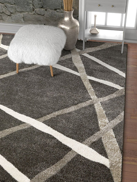 2964 Charcoal Gray Abstract Contemporary Area Rugs