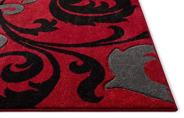 6100 Black Red Floral Hand Carved Contemporary Area Rugs