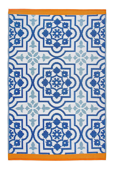 7107 Blue Transitional 100% Recycled Outdoor Area Rugs