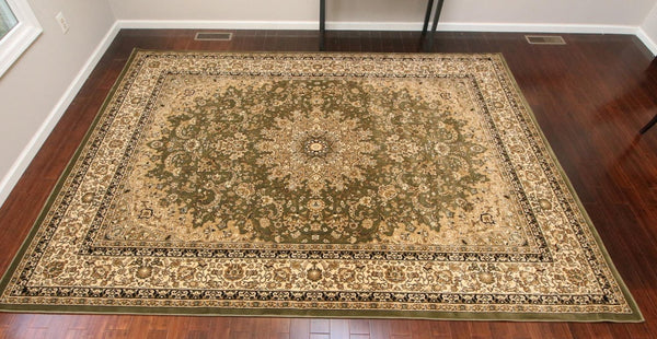 Green Persian Isfahan Oriental Area Rugs