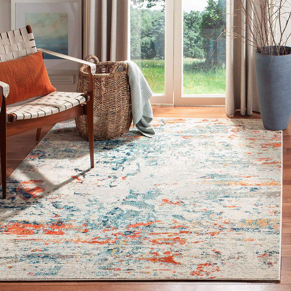 0125 Orange Ivory Distressed Contemporary Area Rugs