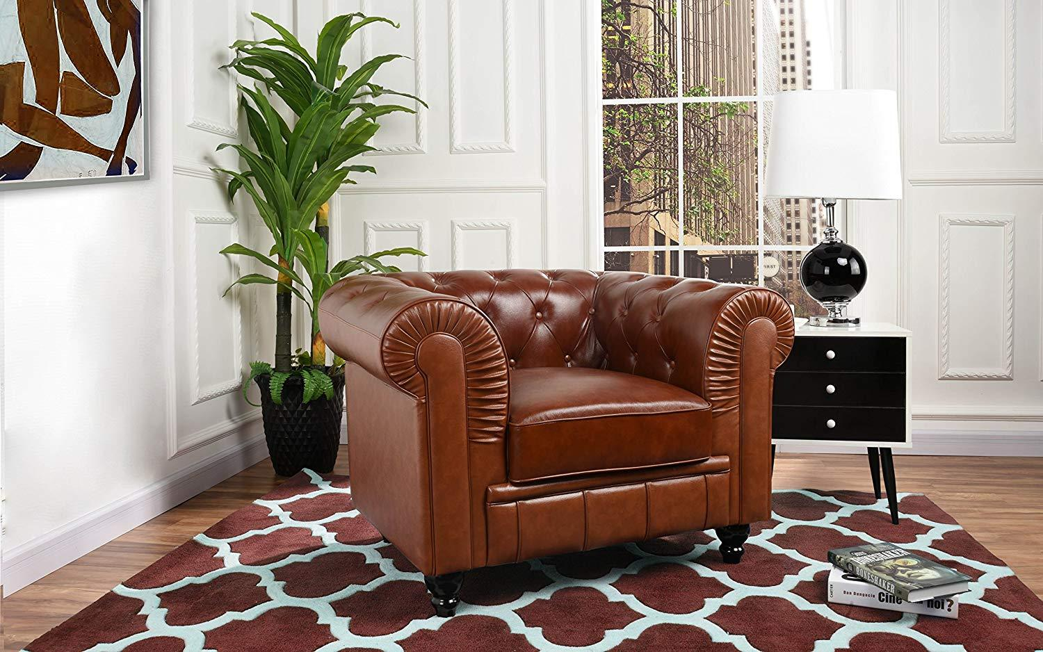 New Century Light Brown Faux Tufted Leather Chesterfield Accent