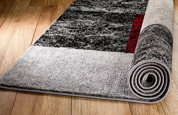 2043 Gray Red Contemporary Area Rugs