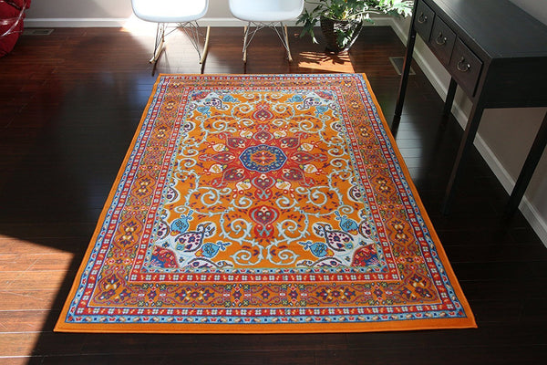 Orange Colorful Oriental Isfahan Medallion Area Rugs