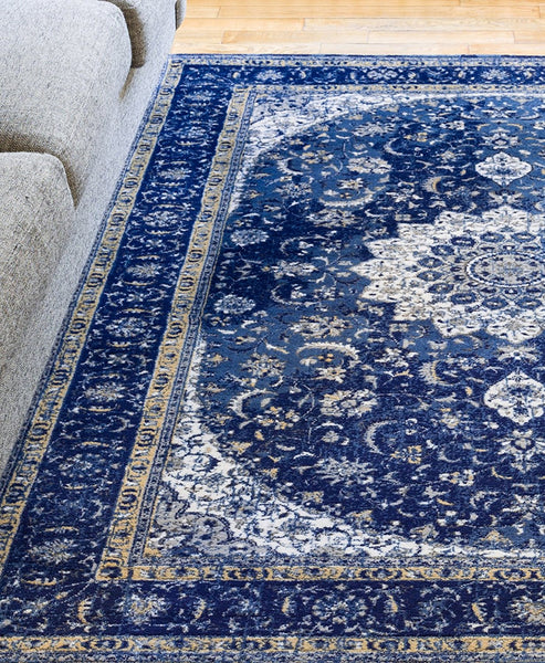 2915 Blue Medallion Plush Persian Area Rugs
