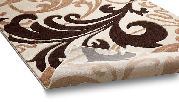 6098 Beige Floral Hand Carved Contemporary Area Rugs