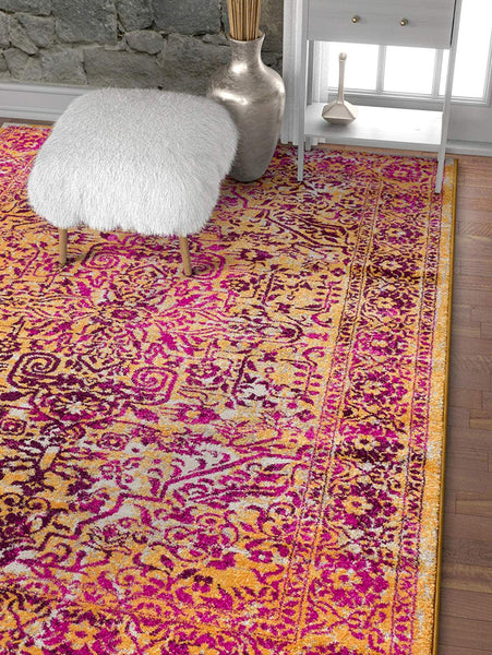2945 Lavender Fuscia Medallion Traditional Area Rugs