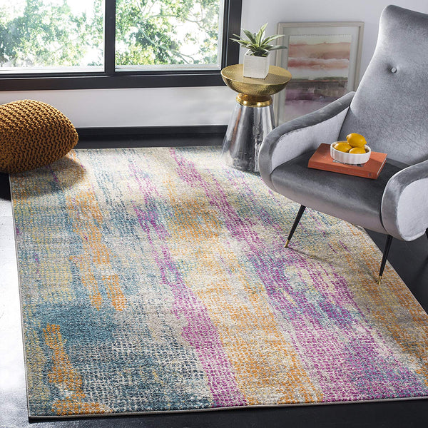 0129 Blue Fuchsia Bohemian Contemporary Area Rugs
