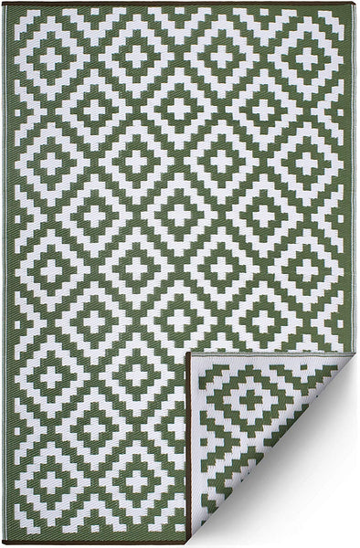 7101 Green 100% Recycled Outdoor Area Rugs