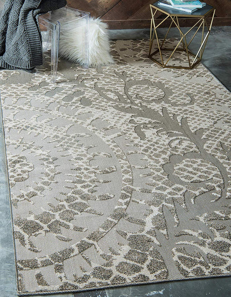 7147 Ivory Outdoor-Indoor Carved Contemporary Area Rugs