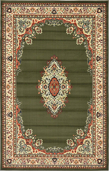 5105 Green Medallion Mashad Oriental Area Rugs