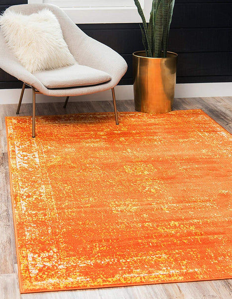 5101 Orange Distressed Vintage Oriental Area Rugs