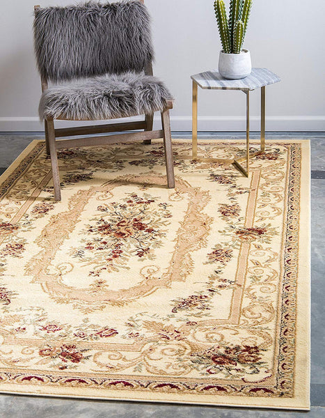 5106 Ivory Floral Traditional Area Rugs