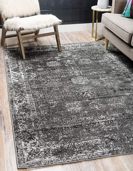 5101 Dark Gray Distressed Vintage Oriental Area Rugs