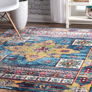 9359 Blue Colorful Medallion Oriental Area Rugs