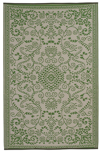 7111 Green Oriental 100% Recycled Outdoor Area Rugs