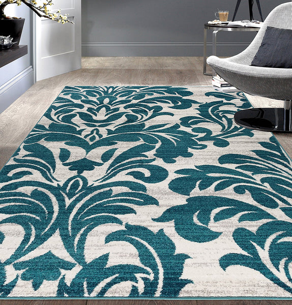 2911 Teal Damask Design Area Rugs