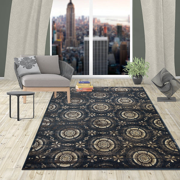 2912 Navy Blue Medallion Contemporary Area Rugs