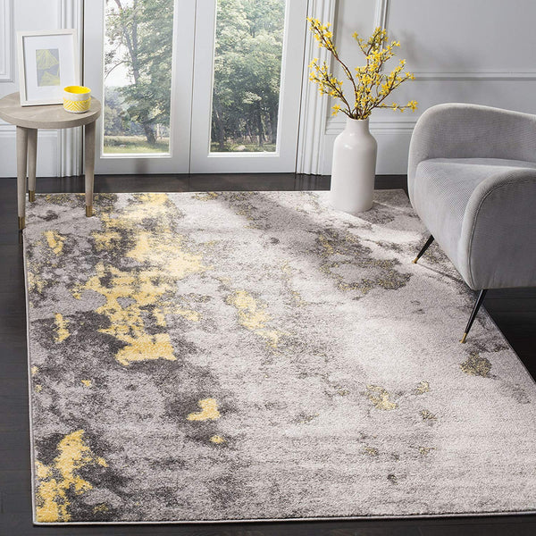 0102 Gray Yellow Distressed Contemporary Area Rugs