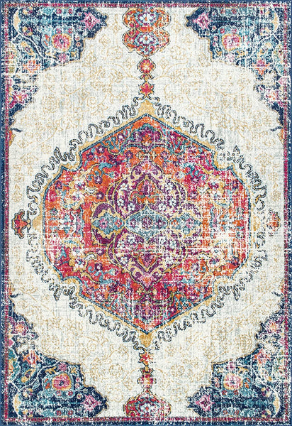 20023 Ivory Multi Color Medallion Vintage Persian Oriental Area Rugs