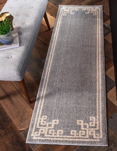 9953 Gray Greek Contemporary Area Rugs