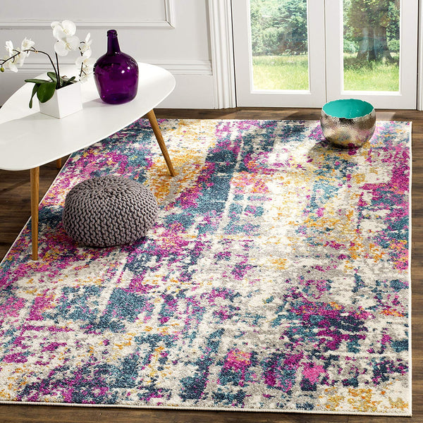 0101 Ivory Purple Bohemian Contemporary Area Rugs
