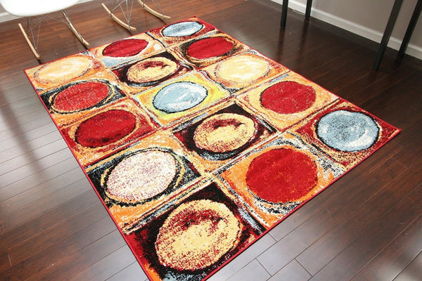 Red Yellow Red Modern Trendz Contemporary Area Rugs