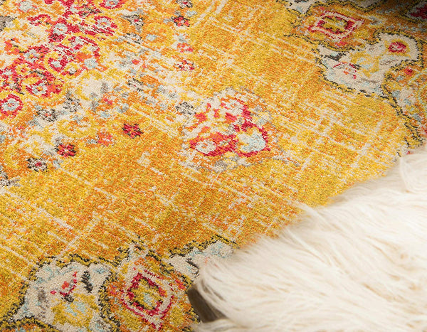 9319 Gold Oriental Distressed Area Rugs