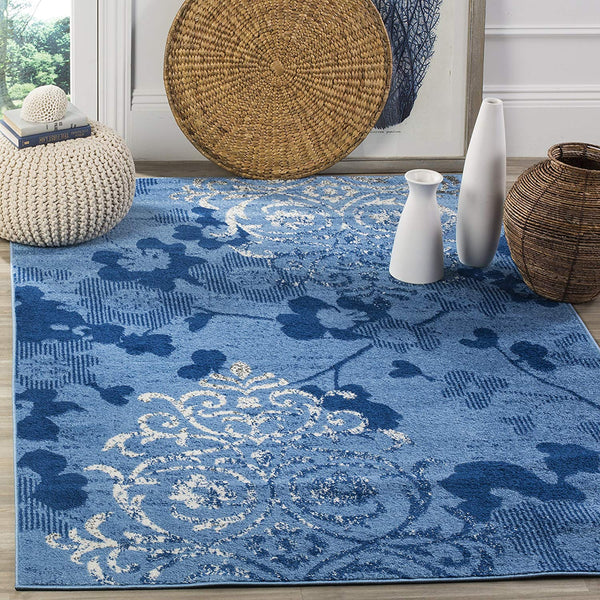 0103 Light Blue Damask Design Contemporary Area Rugs