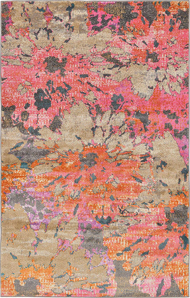 0143 Beige Multi Color Over-Dyed Contemporary Area Rugs