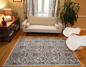Coral Blue Silver Damask Transitional Area Rugs