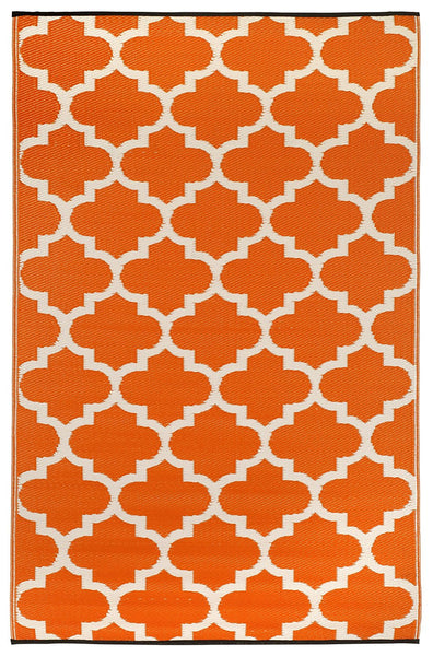 7118 Orange Trellis Reversible Outdoor/Indoor Area Rugs