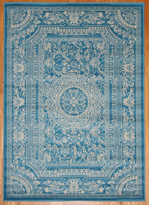 Blue European French Medallion Traditional Area Rugs