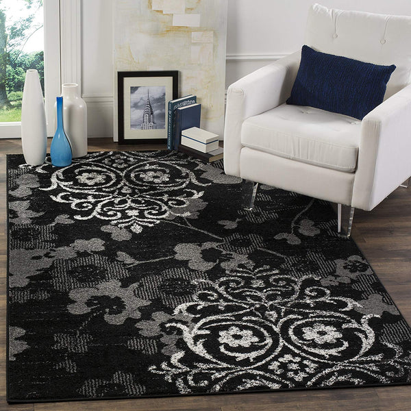0103 Black Silver Damask Design Contemporary Area Rugs