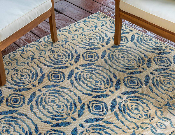 7134 Beige Vintage Abstract Outdoor Area Rugs