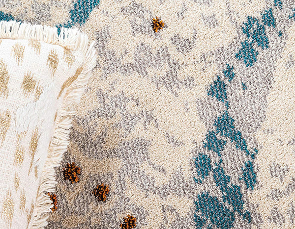 9996 Ivory Blue Abstract Contemporary Area Rugs